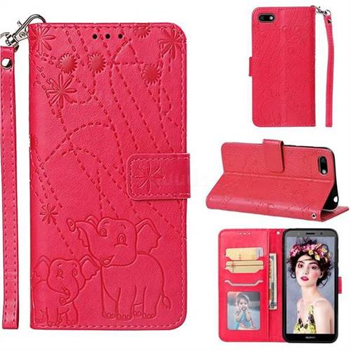 Embossing Fireworks Elephant Leather Wallet Case for Huawei Y5 Prime 2018 (Y5 2018) - Red