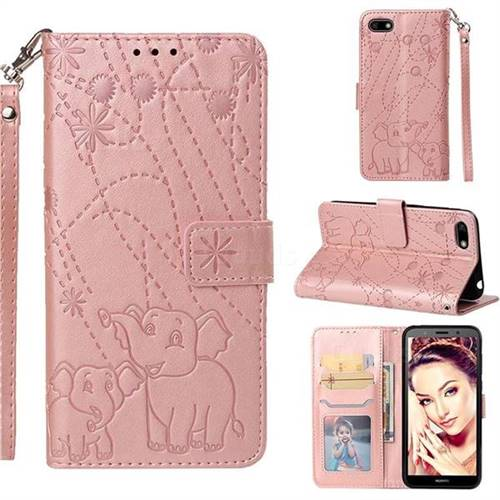 Embossing Fireworks Elephant Leather Wallet Case for Huawei Y5 Prime 2018 (Y5 2018 / Y5 Lite 2018) - Rose Gold