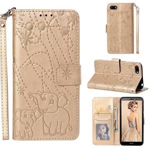 Embossing Fireworks Elephant Leather Wallet Case for Huawei Y5 Prime 2018 (Y5 2018 / Y5 Lite 2018) - Golden