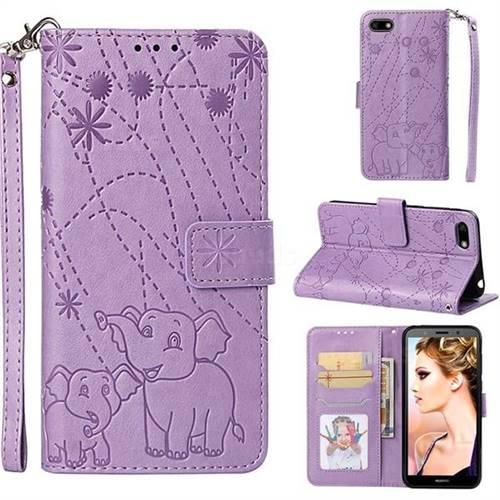 Embossing Fireworks Elephant Leather Wallet Case for Huawei Y5 Prime 2018 (Y5 2018 / Y5 Lite 2018) - Purple