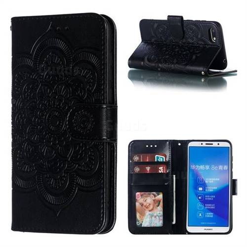 Intricate Embossing Datura Solar Leather Wallet Case for Huawei Y5 Prime 2018 (Y5 2018 / Y5 Lite 2018) - Black