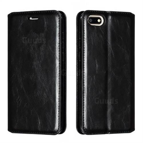 Retro Slim Magnetic Crazy Horse PU Leather Wallet Case for Huawei Y5 Prime 2018 (Y5 2018 / Y5 Lite 2018) - Black