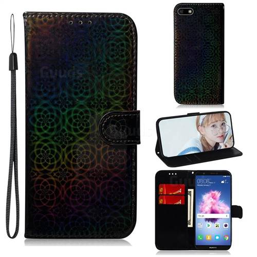 Laser Circle Shining Leather Wallet Phone Case for Huawei Y5 Prime 2018 (Y5 2018 / Y5 Lite 2018) - Black