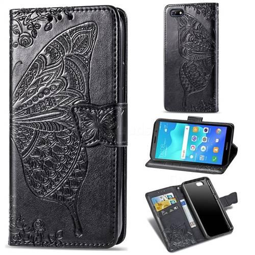 Embossing Mandala Flower Butterfly Leather Wallet Case for Huawei Y5 Prime 2018 (Y5 2018 / Y5 Lite 2018) - Black