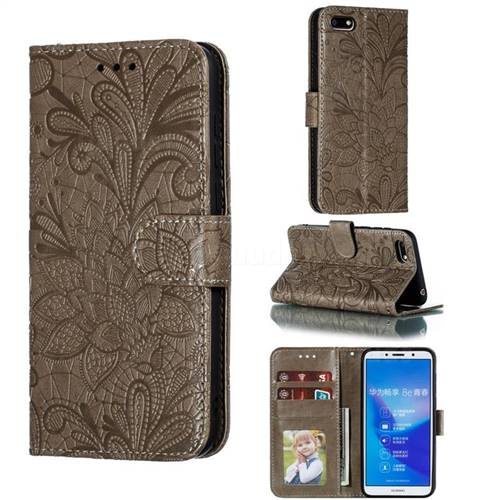 Intricate Embossing Lace Jasmine Flower Leather Wallet Case for Huawei Y5 Prime 2018 (Y5 2018 / Y5 Lite 2018) - Gray