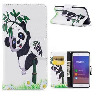 Bamboo Panda Leather Wallet Case for Huawei Y5II Y5 2 Honor5 Honor Play 5