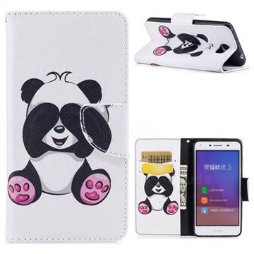 Lovely Panda Leather Wallet Case for Huawei Y5II Y5 2 Honor5 Honor Play 5