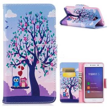 Tree and Owls Leather Wallet Case for Huawei Y5II Y5 2 Honor5 Honor Play 5