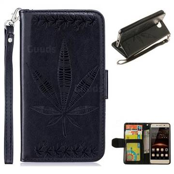 Intricate Embossing Maple Leather Wallet Case for Huawei Y5II Y5 2 Honor5 Honor Play 5 - Black