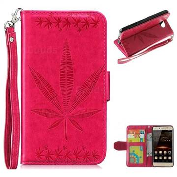 Intricate Embossing Maple Leather Wallet Case for Huawei Y5II Y5 2 Honor5 Honor Play 5 - Rose
