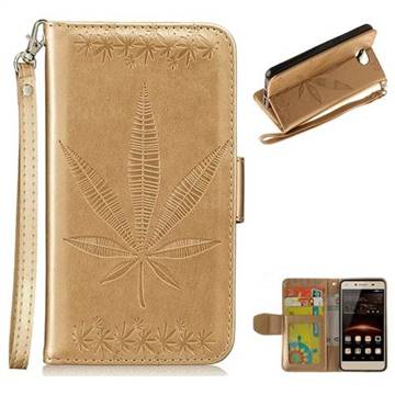 Intricate Embossing Maple Leather Wallet Case for Huawei Y5II Y5 2 Honor5 Honor Play 5 - Champagne