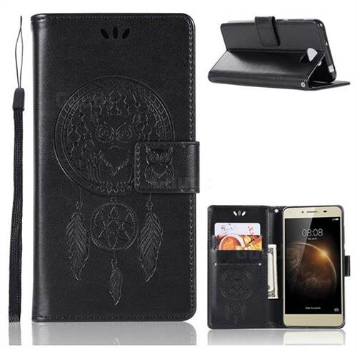 Intricate Embossing Owl Campanula Leather Wallet Case for Huawei Y5II Y5 2 Honor5 Honor Play 5 - Black