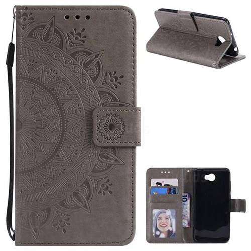 Intricate Embossing Datura Leather Wallet Case for Huawei Y5II Y5 2 Honor5 Honor Play 5 - Gray