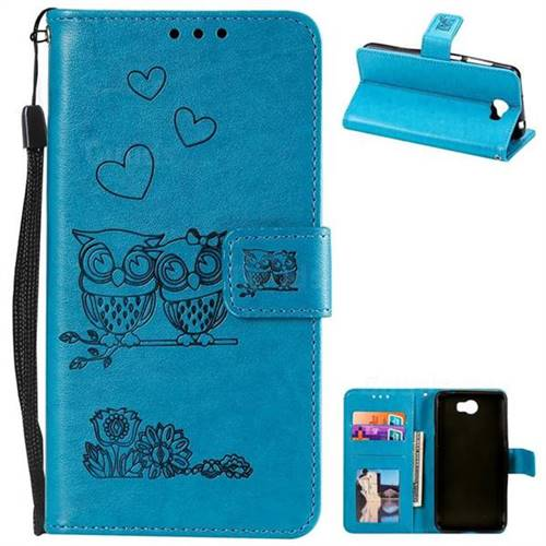 Embossing Owl Couple Flower Leather Wallet Case for Huawei Y5II Y5 2 Honor5  Honor Play 5 - Blue