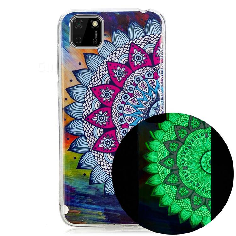 Colorful Sun Flower Noctilucent Soft TPU Back Cover for Huawei Y5p