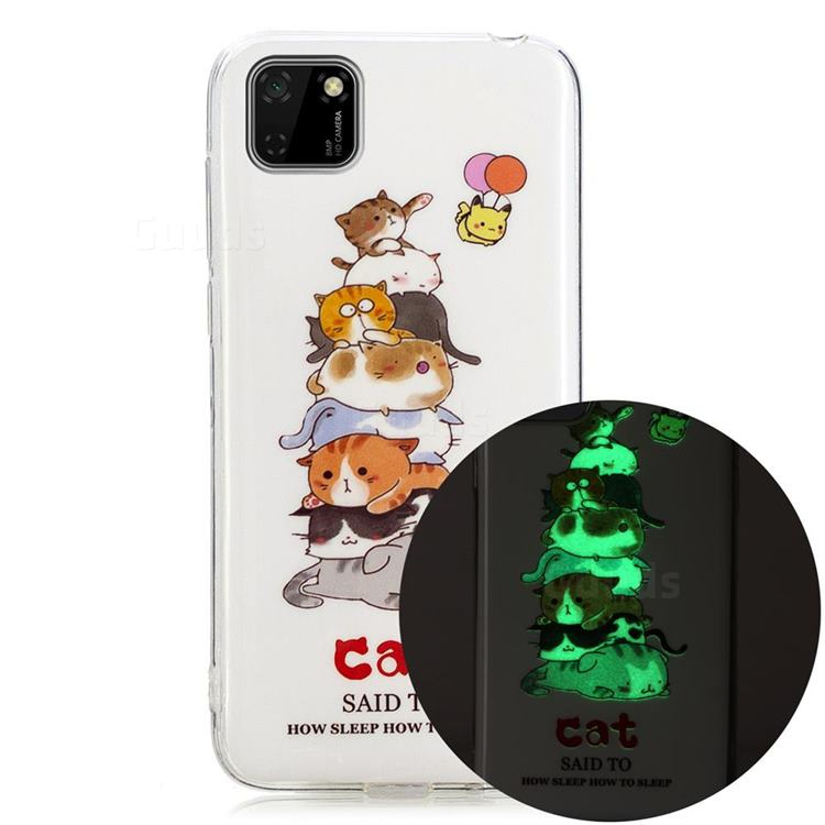 Cute Cat Noctilucent Soft TPU Back Cover for Huawei Y5p