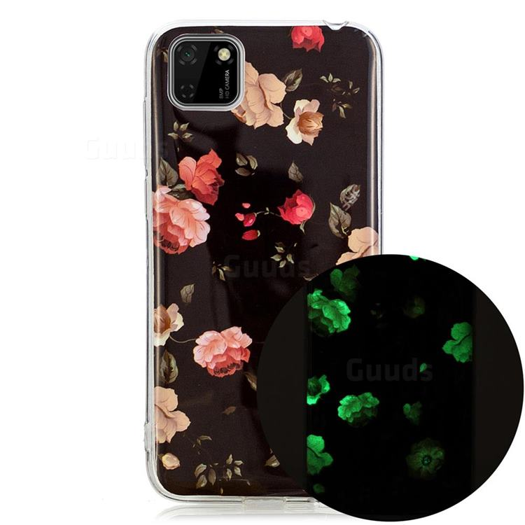 Rose Flower Noctilucent Soft TPU Back Cover for Huawei Y5p