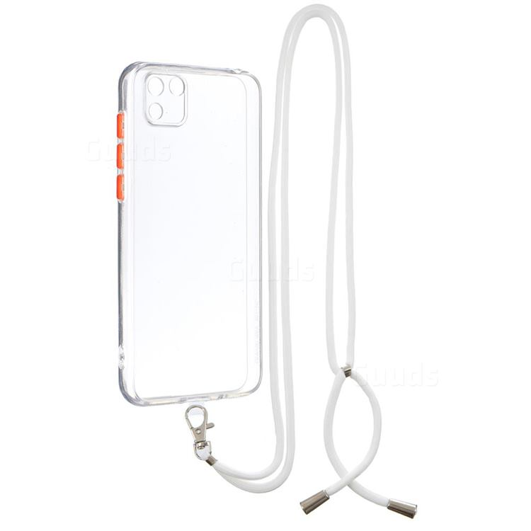 Necklace Cross-body Lanyard Strap Cord Phone Case Cover for Huawei Y5p - Transparent