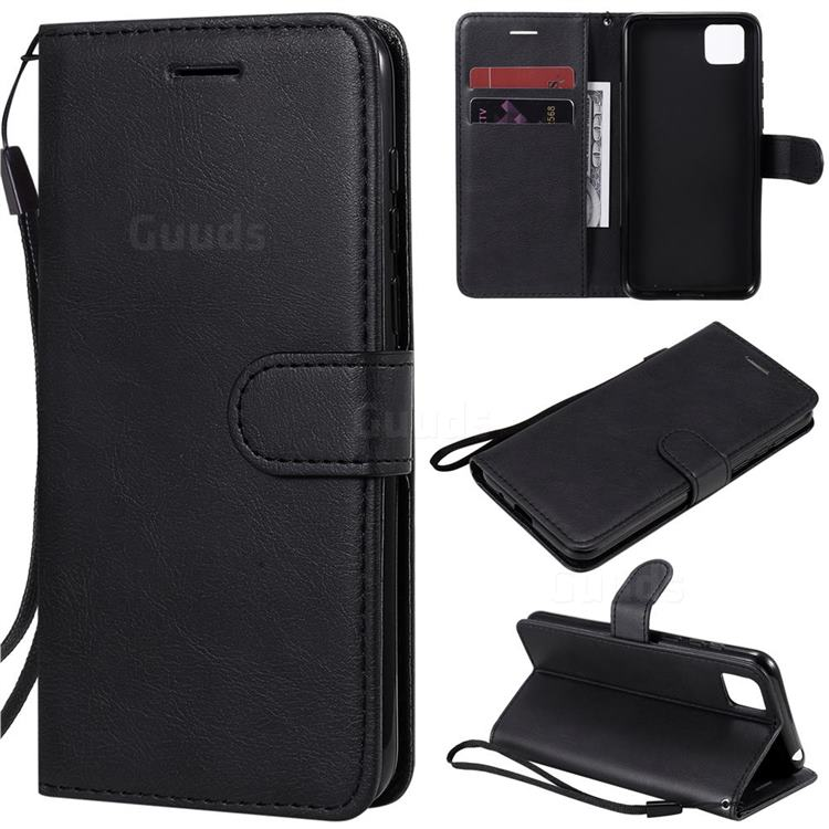 Retro Greek Classic Smooth PU Leather Wallet Phone Case for Huawei Y5p - Black