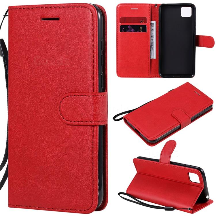 Retro Greek Classic Smooth PU Leather Wallet Phone Case for Huawei Y5p - Red