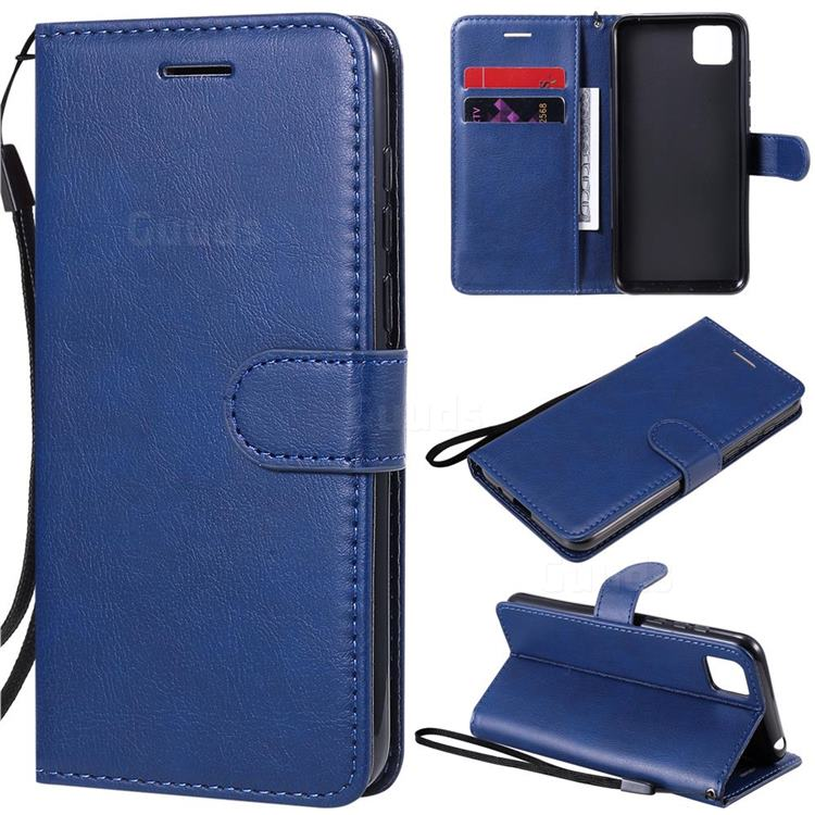 Retro Greek Classic Smooth PU Leather Wallet Phone Case for Huawei Y5p - Blue