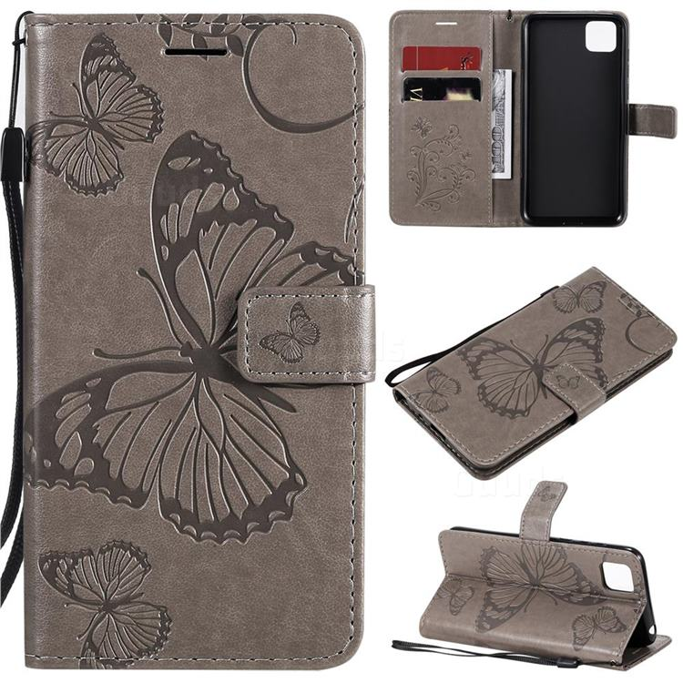 Embossing 3D Butterfly Leather Wallet Case for Huawei Y5p - Gray
