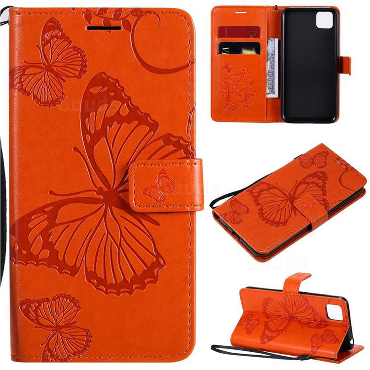 Embossing 3D Butterfly Leather Wallet Case for Huawei Y5p - Orange
