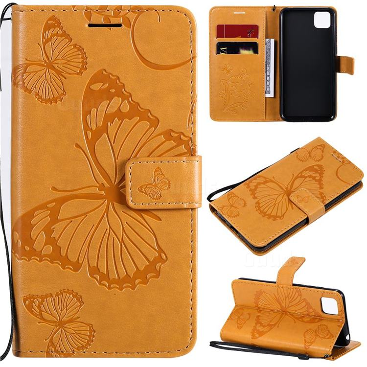 Embossing 3D Butterfly Leather Wallet Case for Huawei Y5p - Yellow