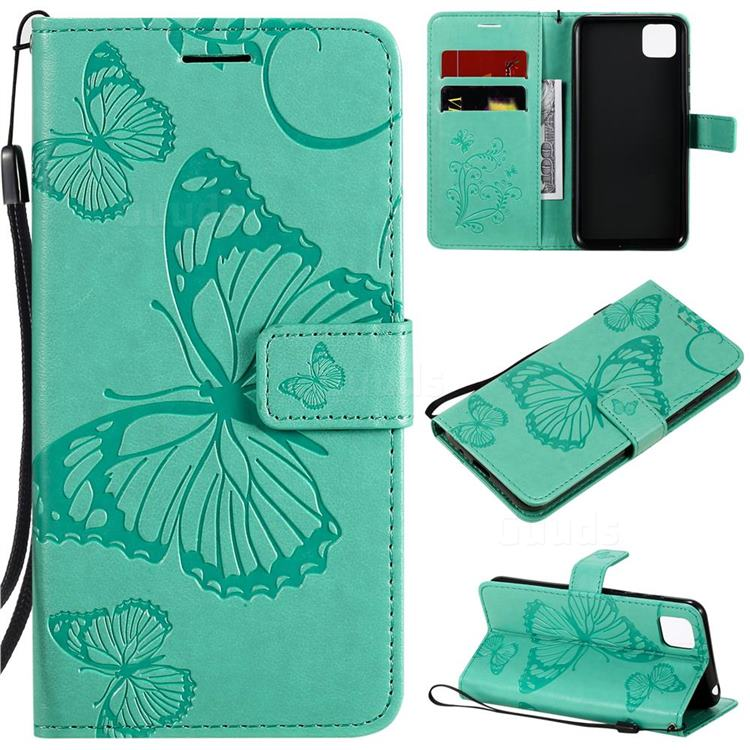 Embossing 3D Butterfly Leather Wallet Case for Huawei Y5p - Green