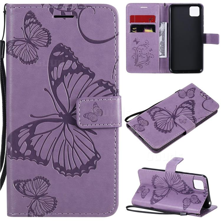 Embossing 3D Butterfly Leather Wallet Case for Huawei Y5p - Purple