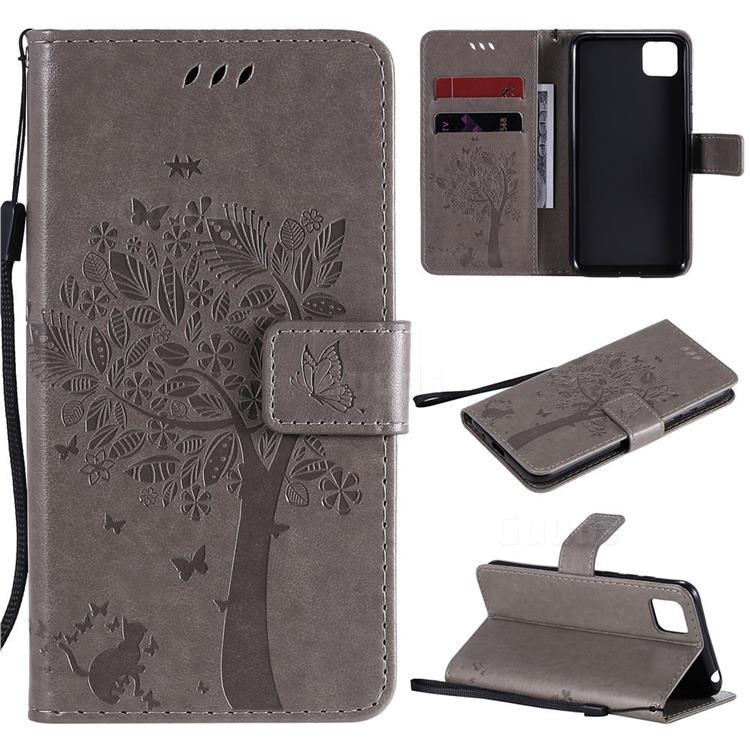 Embossing Butterfly Tree Leather Wallet Case for Huawei Y5p - Grey