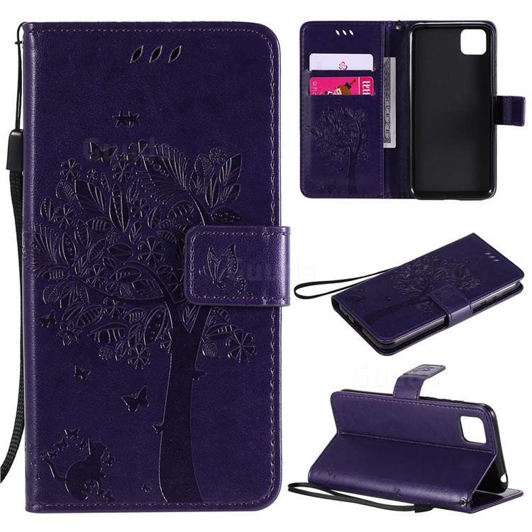 Embossing Butterfly Tree Leather Wallet Case for Huawei Y5p - Purple