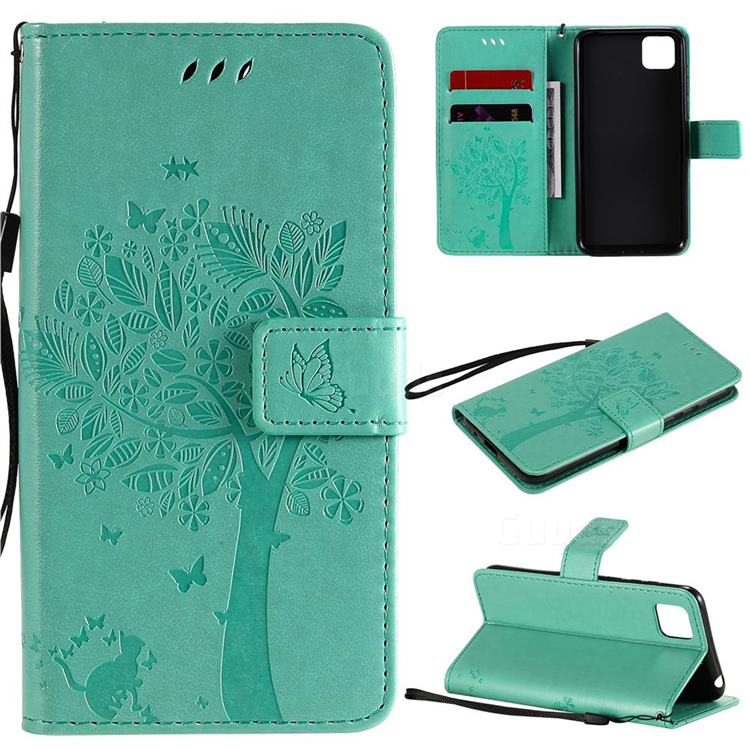 Embossing Butterfly Tree Leather Wallet Case for Huawei Y5p - Cyan