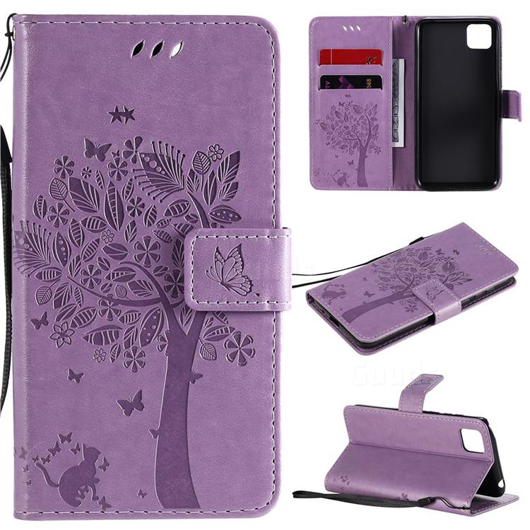 Embossing Butterfly Tree Leather Wallet Case for Huawei Y5p - Violet