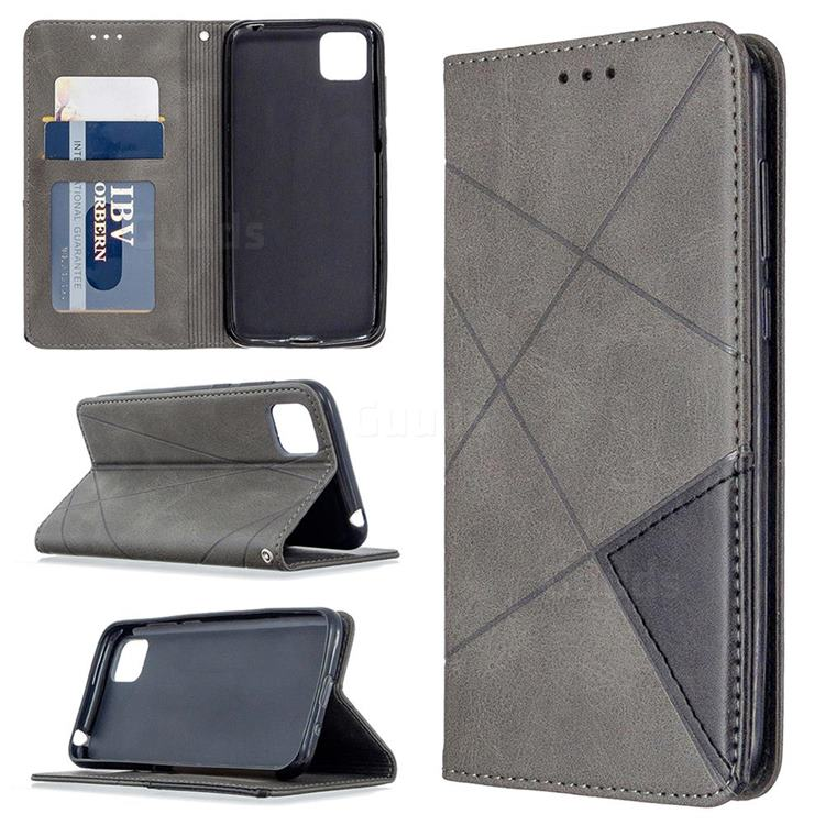 Prismatic Slim Magnetic Sucking Stitching Wallet Flip Cover for Huawei Y5p - Gray