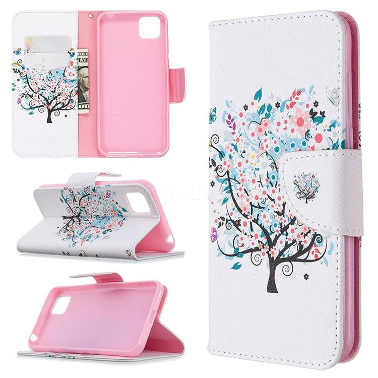 Colorful Tree Leather Wallet Case for Huawei Y5p