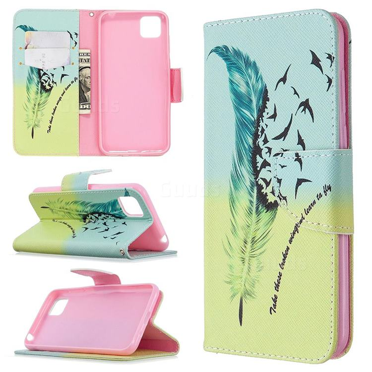 Feather Bird Leather Wallet Case for Huawei Y5p