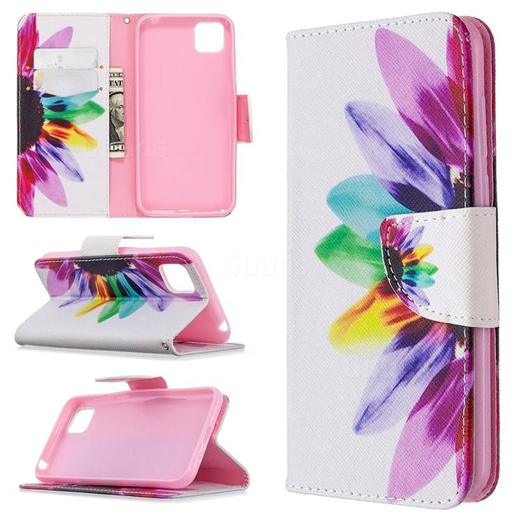 Seven-color Flowers Leather Wallet Case for Huawei Y5p