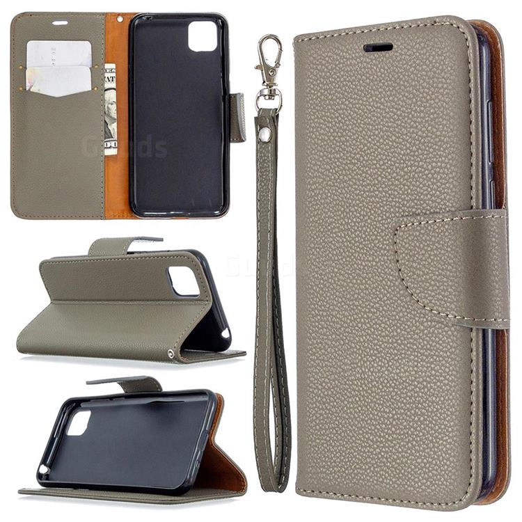 Classic Luxury Litchi Leather Phone Wallet Case for Huawei Y5p - Gray