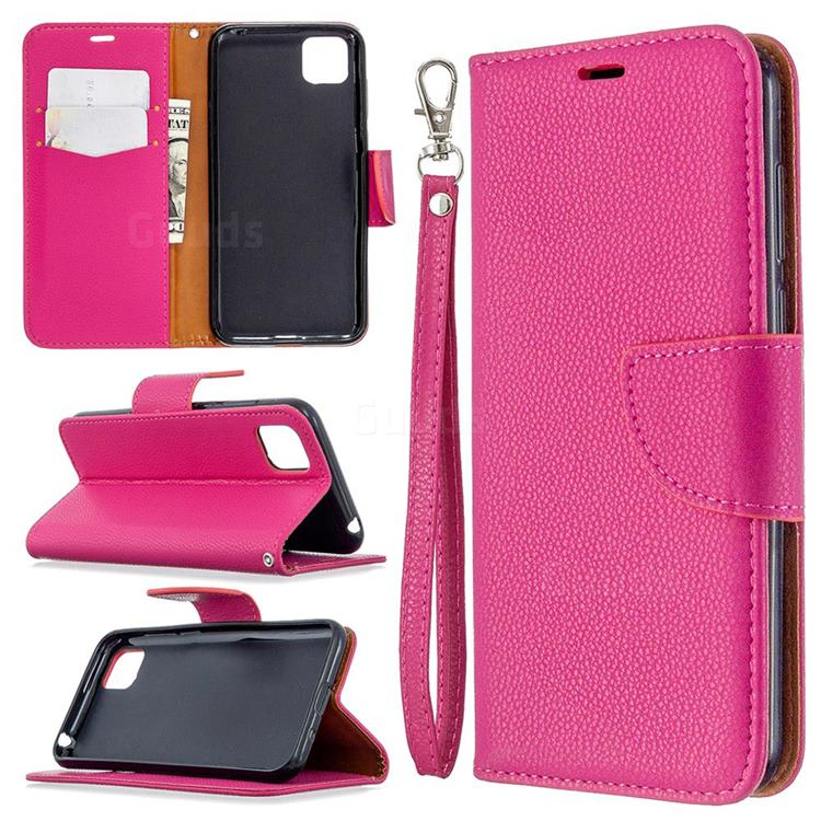 Classic Luxury Litchi Leather Phone Wallet Case for Huawei Y5p - Rose