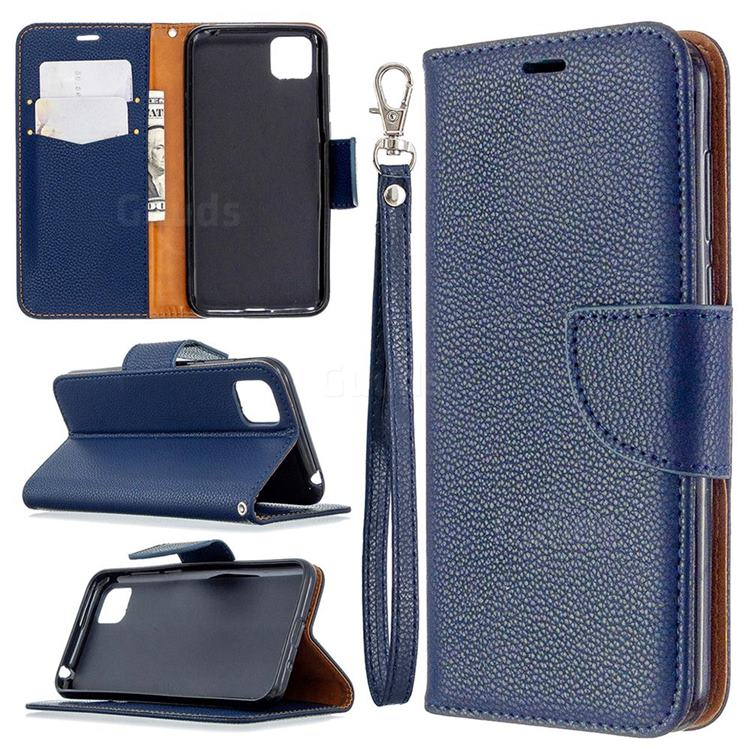 Classic Luxury Litchi Leather Phone Wallet Case for Huawei Y5p - Blue