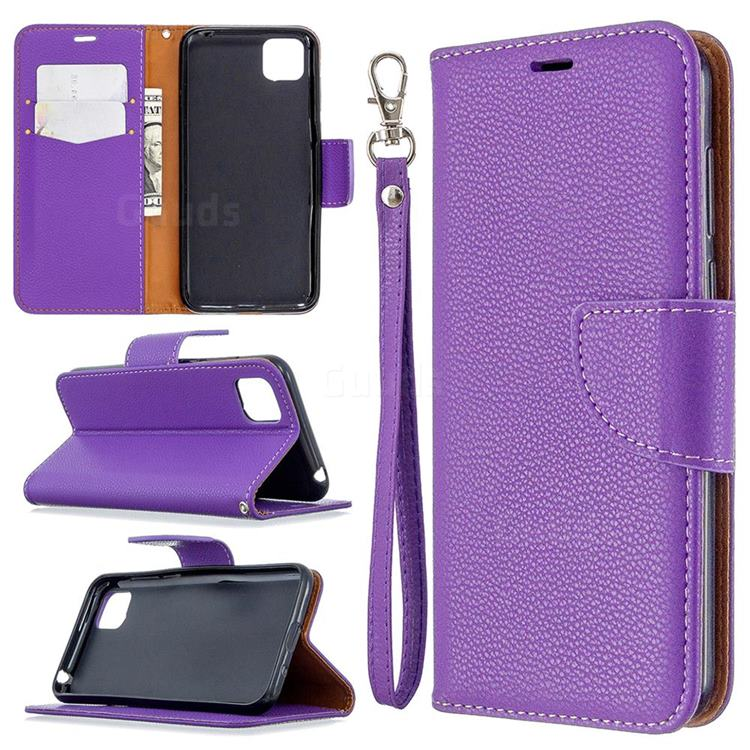 Classic Luxury Litchi Leather Phone Wallet Case for Huawei Y5p - Purple