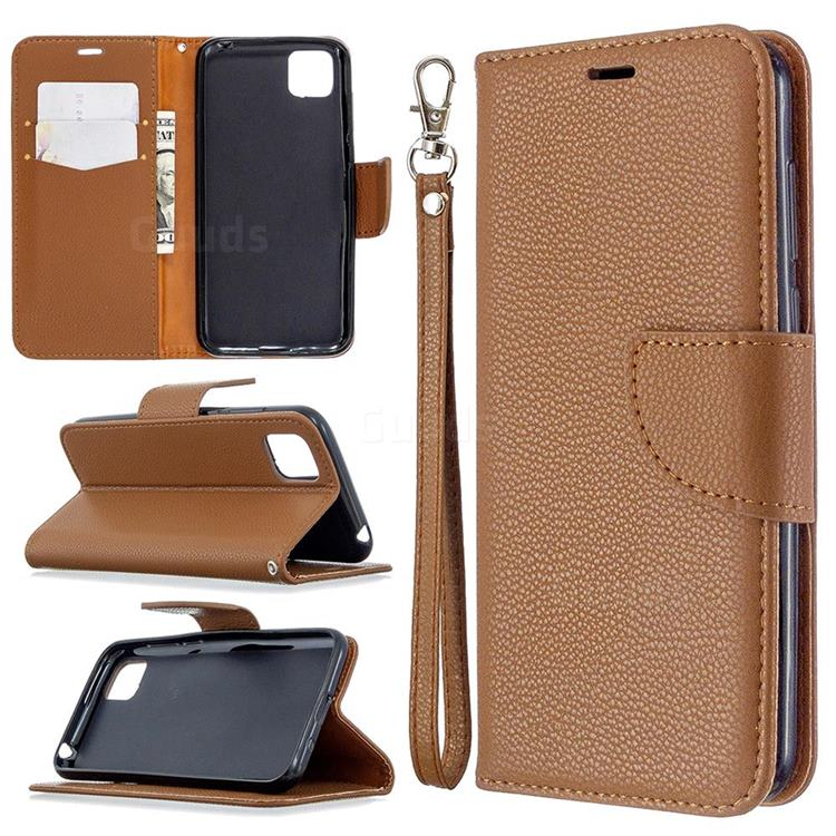 Classic Luxury Litchi Leather Phone Wallet Case for Huawei Y5p - Brown