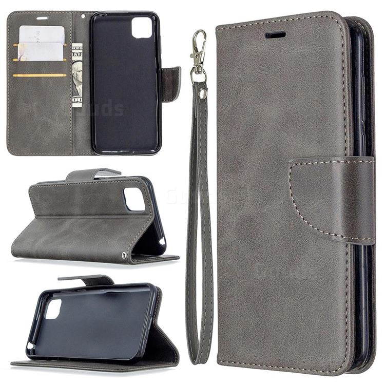 Classic Sheepskin PU Leather Phone Wallet Case for Huawei Y5p - Gray