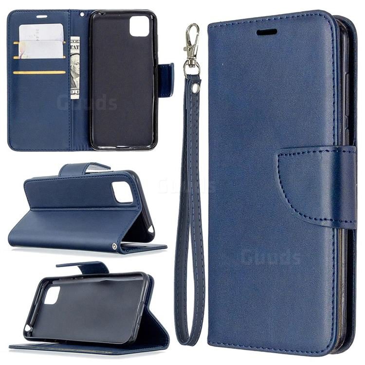 Classic Sheepskin PU Leather Phone Wallet Case for Huawei Y5p - Blue