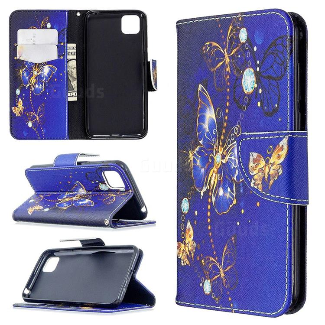Purple Butterfly Leather Wallet Case for Huawei Y5p