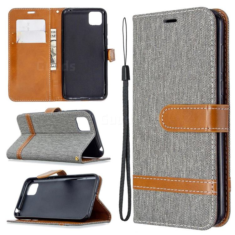 Jeans Cowboy Denim Leather Wallet Case for Huawei Y5p - Gray