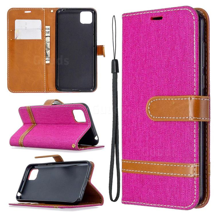 Jeans Cowboy Denim Leather Wallet Case for Huawei Y5p - Rose