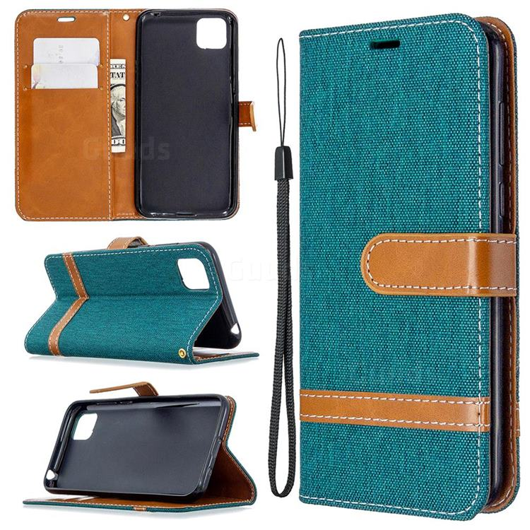 Jeans Cowboy Denim Leather Wallet Case for Huawei Y5p - Green