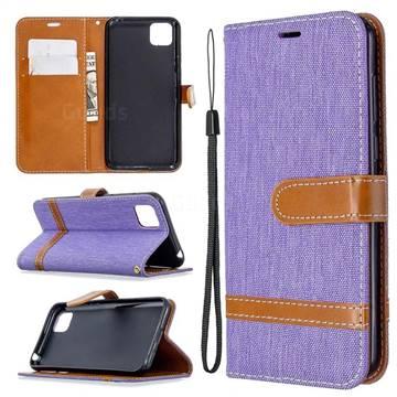 Jeans Cowboy Denim Leather Wallet Case for Huawei Y5p - Purple